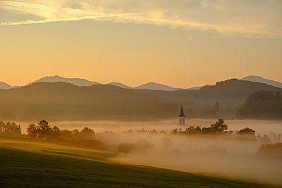 Germany, Pfaffenwinkel, view of landscape at morning mist - p300m2059187 by Lisa und Wilfried Bahnmüller