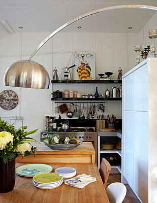 Metal lamp in Edwardian school house kitchen conversion - p349m789854 by Brent Darby