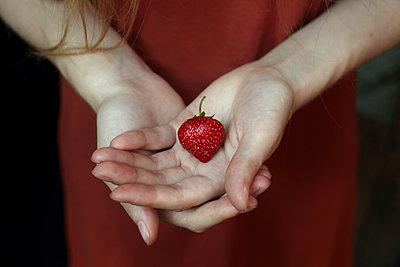 Strawberry in hand of woman - p555m1531572 by Vladimir Serov