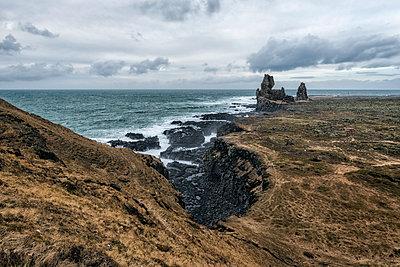 Rock formations near ocean, Hellissandur, Snaellsnes peninsula, Iceland - p555m1491148 by Patrick Lienin