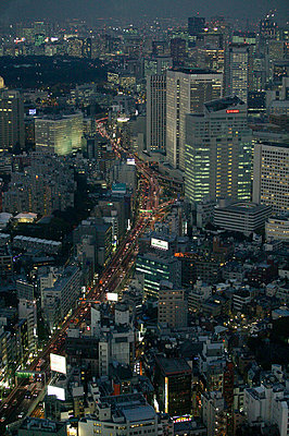 Aerial view of Tokyo at night - p3882026 by L.B.Jeffries