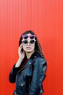 Girl with several sunglasses - p1412m2054336 by Svetlana Shemeleva