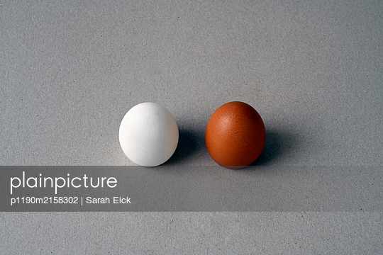 Two chicken eggs - p1190m2158302 by Sarah Eick