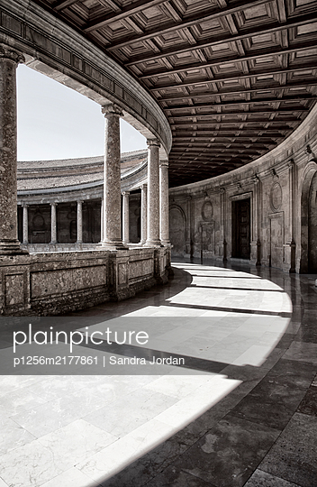 Empty arcades, Alhambra, Granada, Spain - p1256m2177861 by Sandra Jordan