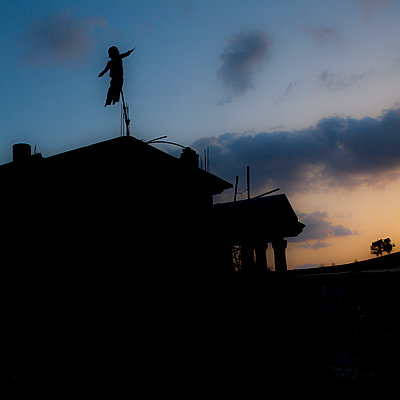 Lebanon, Scarecrow on a roof - p1542m2196988 by Roger Grasas