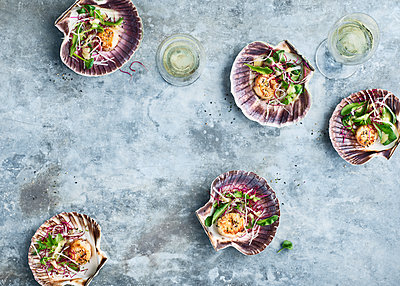 Scallops in shells - p312m1558424 by Johner