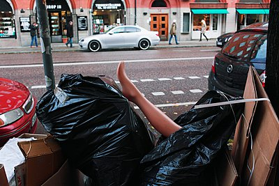 Garbage in a dustbin lorry, Sweden - p348m915788 by Mikael Andersson