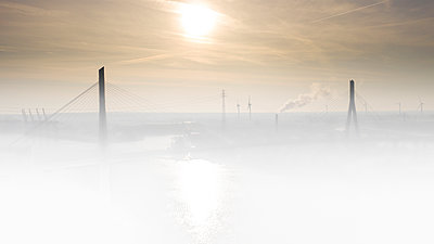 Köhlbrandbrücke in the fog at sunrise, Hamburg - p179m2179768 by Roland Schneider