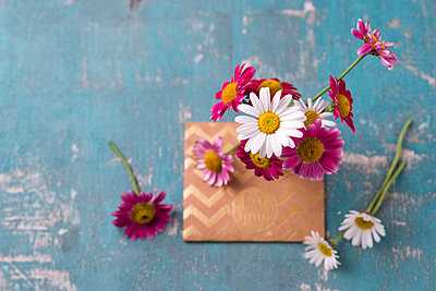 Marguerites and envelope - p300m1587166 by Mandy Reschke