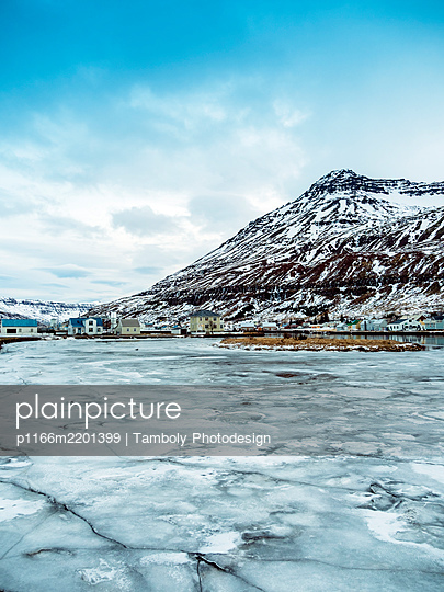 Seydisfjordur early morning in winter - p1166m2201399 by Tamboly Photodesign