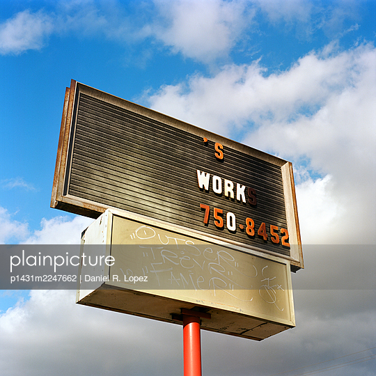 Sign with Missing Text - p1431m2247662 by Daniel R. Lopez