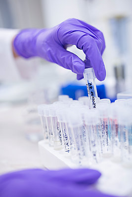 Preparation of samples for quality check during drug processing - p300m2062891 by Fotoagentur WESTEND61