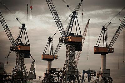 Germany, Hamburg, Construction cranes at construction site - p30017685f by Tom Hoenig