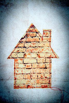 Sewed house - p451m2258034 by Anja Weber-Decker