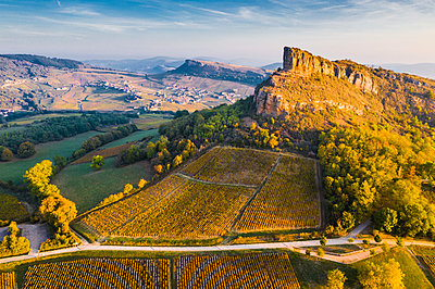 France, Bourgogne-Franche-Comte, Burgundy, Saone-et-Loire, Solutre-Pouilly. The limestone Rock of Solutre and its surrounding vineyards. - p651m2062104 by Marco Bottigelli