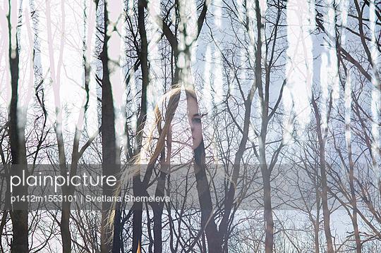 Girl in spring forest - p1412m1553101 by Svetlana Shemeleva
