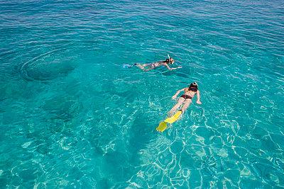 Girls snorkeling in ocean - p6416755f by Martin Barraud
