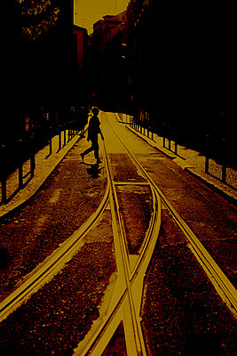 Railway tracks, Lisbon, Portugal - p1028m1589655 by Jean Marmeisse