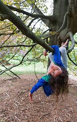 Girl climbing in a tree - p1231m2013895 by Iris Loonen