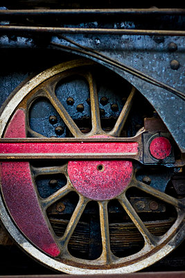 Detail of an old steam engine in process of being restored at a workshop in the Railway Worker's Khu Tap The, Hanoi, Vietnam, Asia - p934m832483 by Dominic Blewett