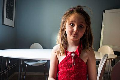 Little girl looking mischievous - p1418m1497000 by Jan Håkan Dahlström