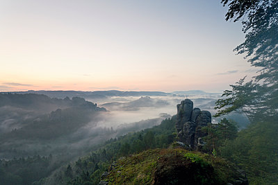 morning mist at Elbe Sandstone Mountains - p300m961860 by Mel Stuart