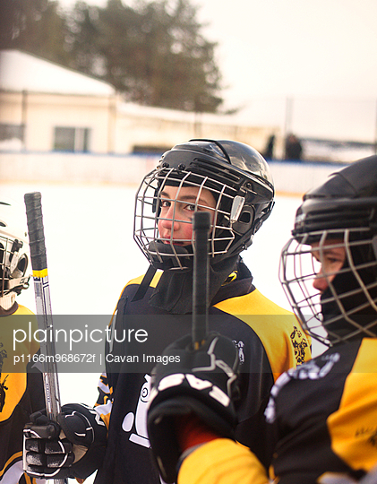 Boys In Ice Hockey Uniforms
