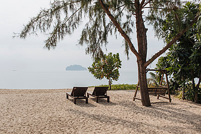 Thailand, Sunloungers on the beach - p728m2230495 by Peter Nitsch