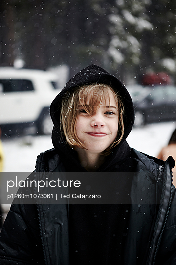 Girl in Snow, Sequoia - p1260m1073061 by Ted Catanzaro