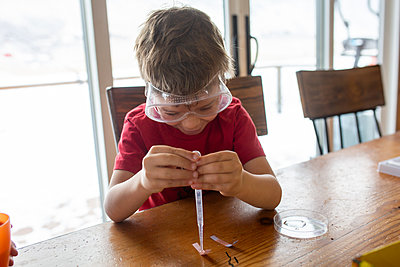Little boy doing science experiments on kitchen table - p1166m2269663 by Cavan Images