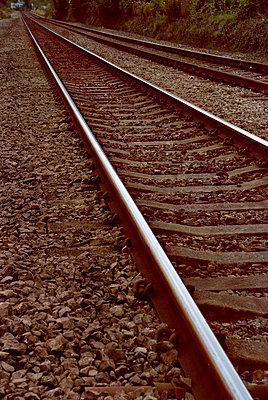 Railway tracks receding into distance - p5970251 by Tim Robinson