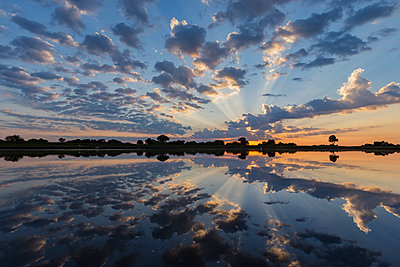 Reflection of clouds in water hole at sunset - p555m1231905 by Jeremy Woodhouse