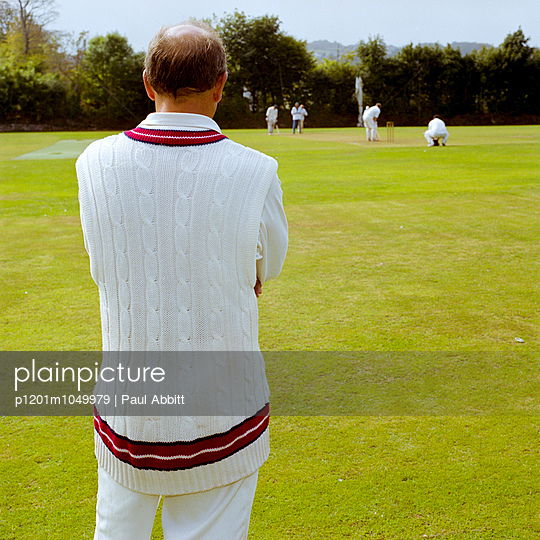 Cricket man in jumper, Penryn, Cornwall
