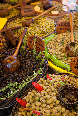 Market, Olive stall - p781m2038024 by Angela Franke