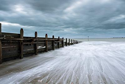 Groynes at the seaside, East Head Beach, West Wittering, England - p1516m2158262 by Philip Bedford