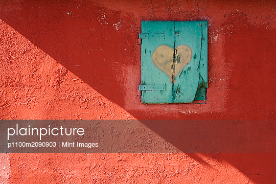 Red Wall with Shuttered Window - p1100m2090903 by Mint Images