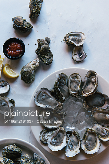 Platters of freshly shucked oysters set out for friends celebration - p1166m2191937 by Cavan Images
