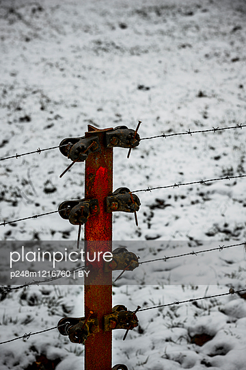 Stacheldrahtzaun im Winter - p248m1216760 von BY
