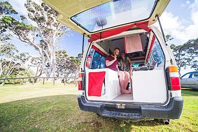 Otamure Bay campsite at dawn, Whananaki, Northland Region, North Island, New Zealand, Pacific - p871m1167767 by Matthew Williams-Ellis