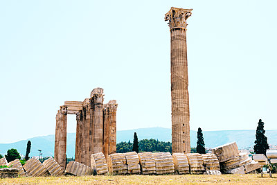 Athens, Greece. The Temple of Olympian Zeus, also known as the Olympieion or Columns of the Olympian Zeus, is a colossal ruined temple in the center of the Greek capital Athens. - p300m1228178 by Gemma Ferrando