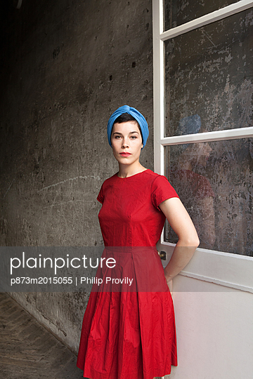 Lady in red - p873m2015055 by Philip Provily