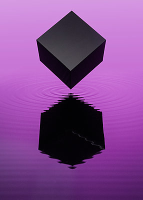 Reflection of black cube in purple fluid, CGI - p1652m2230692 by Callum Ollason