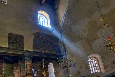 Beam of Light from window in Church of the Nativity; Bethlehem, Jerusalem, Israel - p4429149 by Robert Bartow
