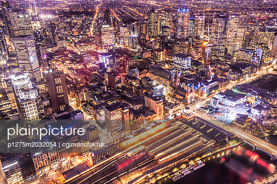 Melbourne Nightscape - p1275m2032054 von cgimanufaktur