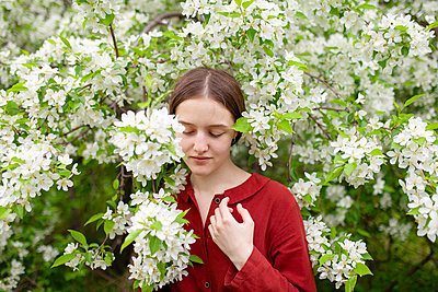 Young woman between blooming bush, portrait - p1646m2264058 by Slava Chistyakov