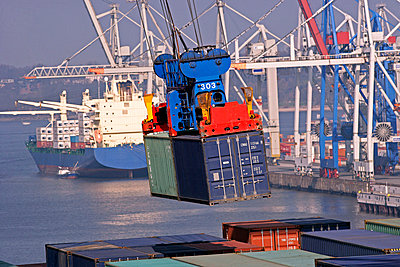 Container ship at container terminal - p8714001 by Hans-Peter Merten