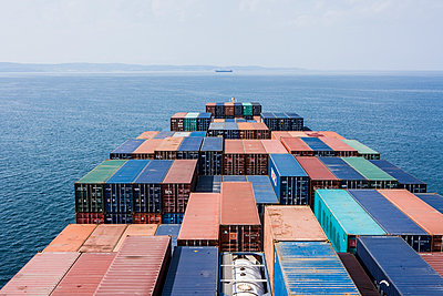 Fully laden container ship - p1157m1041431 by Klaus Nather