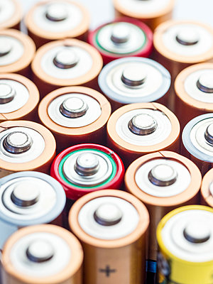 Close up of used AA LR6 1.5V Batteries - p1302m1540080 by Richard Nixon