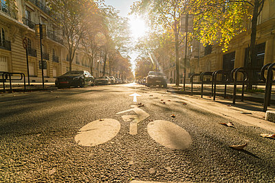 France, Paris, street with cyclist sign on asphalt in autumn - p300m2083929 by A. Tamboly