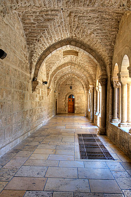 Cloister of St Catherine's Church; Bethlehem, Jerusalem, Israel - p4429148 by Robert Bartow
